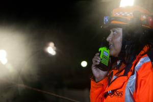 rescue worker on radio