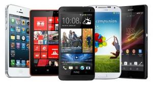 array of smart phones