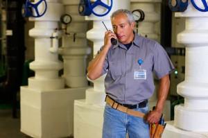 maintenance worker on radio