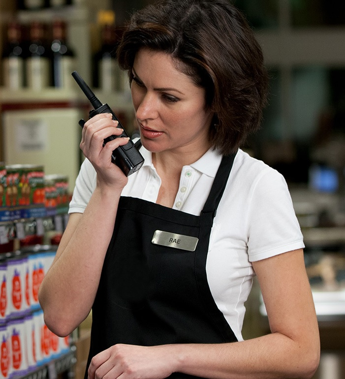retail store clerk on two way radio