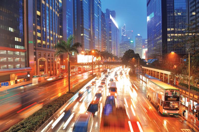 Hong Kong street lights at night