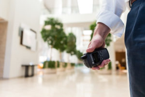 two-way radio being used in workplace office building